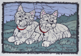 westie pair batik &copy Toni Spencer
