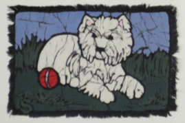 Westie Red Ball batik &copy Toni Spencer