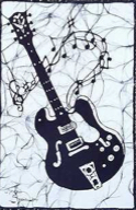 Black Electric Guitar batik &copy Toni Spencer